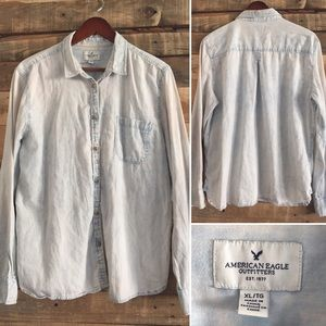 American Eagle Bleached Button Front Shirt XL